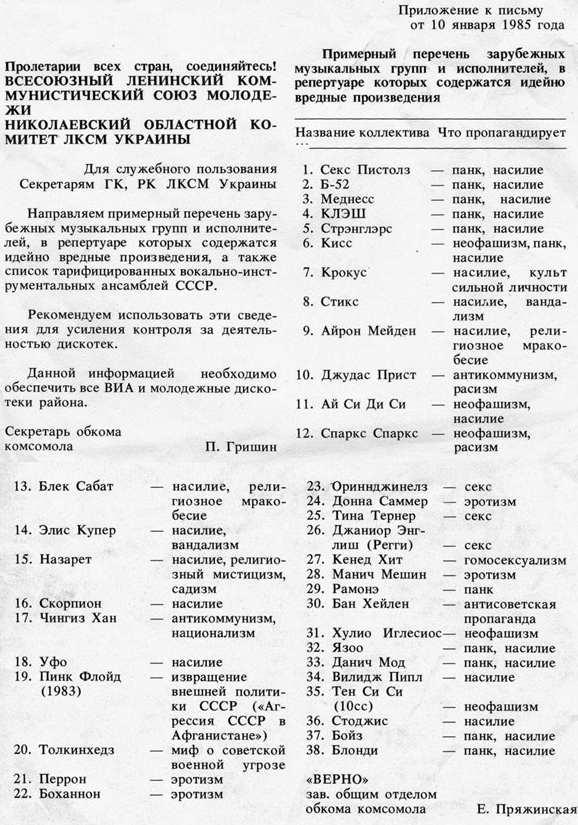 перечень запретных групп в ссср