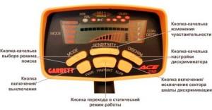 Панель управления металлодетектора Garrett Ace 250